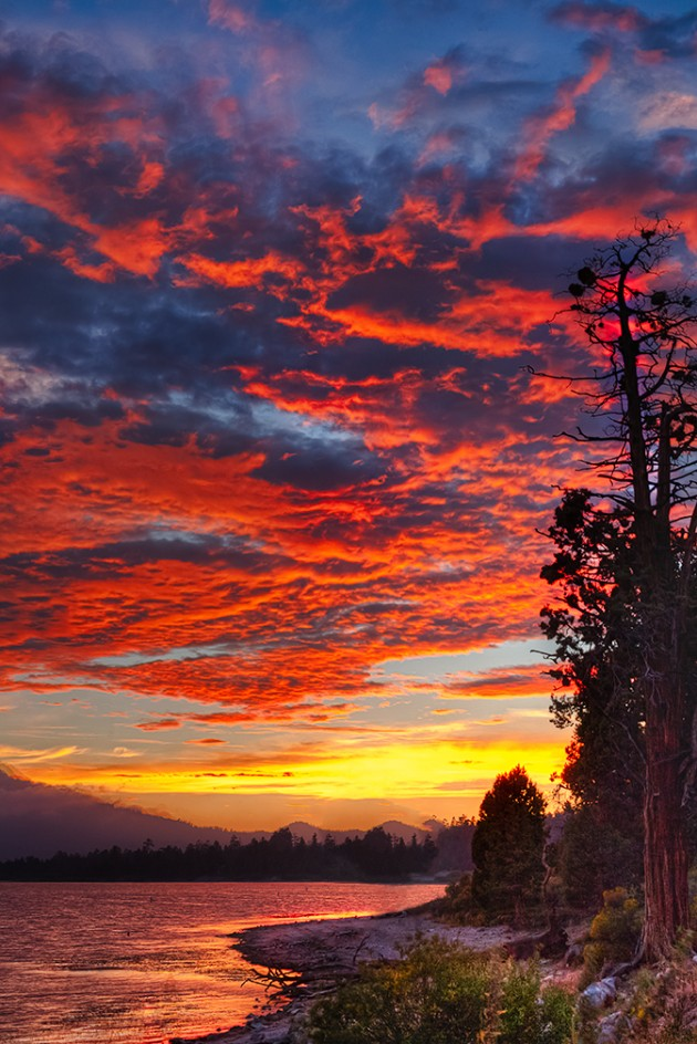 Sunset in Big Bear, California.